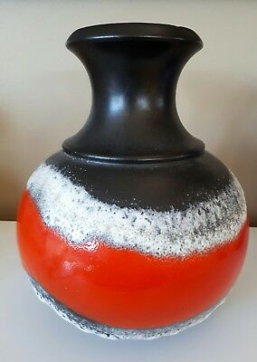 MID CENTURY MODERN 50s GERMAN BLACK/RED LAVA GLAZE LARGE  VASE