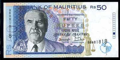 MAURITIUS -  50  RUPEES 1998 Prefix BB  - P 43  Error, Withdrawn  Uncirculated