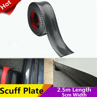 2.5m x5m Car Carbon Fiber Scuff Plate Door Sill Cover Panel Step Protector Guard