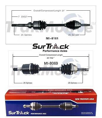 SurTrack Pair Set of 2 Front CV Axle Shafts For Dodge Dakota Durango 4WD