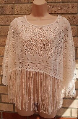 a1b0bc3776ed8 Topshop Cream Tassel Fringed Crochet Lace Knit Cape Poncho Tunic Top Blouse  S M