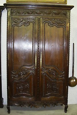 Antique Normandy French Marriage Armoire Solid Quarter Sawn Oak Circa 1850