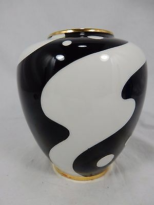 Schöne / beautiful  50´s black & white Design Plankenhammer Porzellan Vase