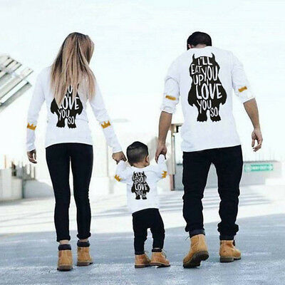 Family Matching Outfits T-shirt Father Daughter DADDY MOMMY GIRL Boys Tee Tops