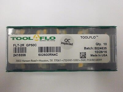 10pc) ToolFlo FLT 2R GP50 Top Notch Coated Carbide Inserts 60° V Threading NT 2R