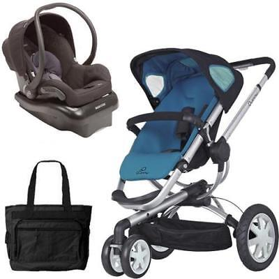 Quinny Buzz 3 Travel System in Blue/Black  with Diaper Bag