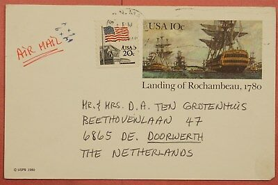1983 Uprated Postal Card #ux84 Airmail Boston Ma To Netherlands