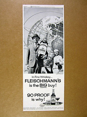 1964 Unisphere New York World's Fair photo Fleischmann's Whiskey print Ad