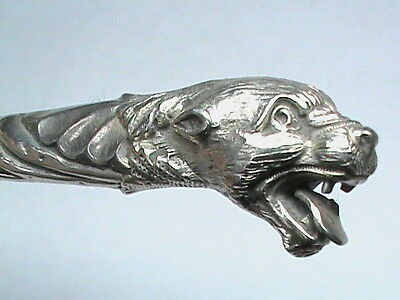 Antique Victorian 1898 Sterling Silver Big Cat lion tiger Button hook buttonhook