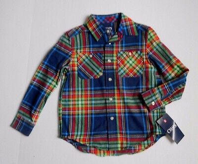 NWT Boys Chaps Navy Plaid Long Sleeve Button Front Shirt sz 4/4t
