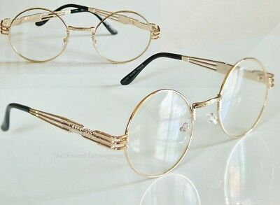 Round Clear Lens Eye Glasses Retro Vintage Style Comfort Fit Gold Sunglass Frame