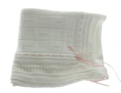 Baby Girls White Pink Christening Shawl Blanket | Feltman Brothers