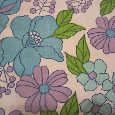 58 Cm X 150 Cm Vintage Cotton Sheet Fabric 1960S Blue Purple Daisy Retro #1