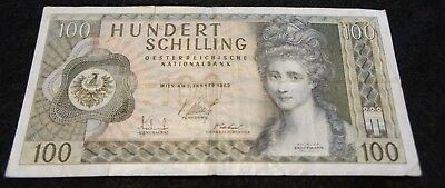 1969 Austria 100 Schilling Bank Note in Fine Condition Nice Collectible Note!
