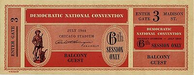 1944 Franklin Roosevelt Chicago Democratic Convention Ticket (4955)
