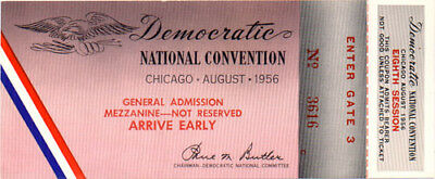 1956 Adlai Stevenson Chicago Democratic Convention Ticket (1322)