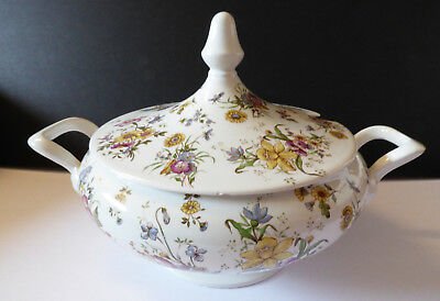 VTG large Laveno made in Italy Porcelain Flower Pattern Soup bowl Tureen w Lid