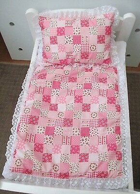 Quilt & Pillow set suitable for Doll's,Pram,Cradle,Cot,Bed Patch  look Pink's