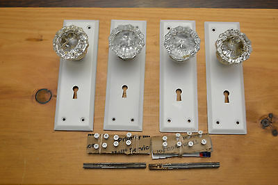 Old Metal Art Deco 2 Sets Glass Door Knobs Backplates With Matching Screws
