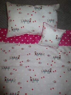 """Dolls Bed set 4 Bed,Cot Cradle Pram  Blanket,Pillow,""""Small Tea Party"""" LAST ONE"""