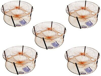 5 x Wilson Round Crab Traps - Bulk Pack of 4 Entry Crab Pots - 18 Ply Mesh