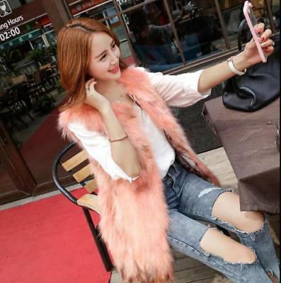 Women Real Fur Sleeveless Vest Jacket Gilet Warm Coat Outwear Waistcoat Chic