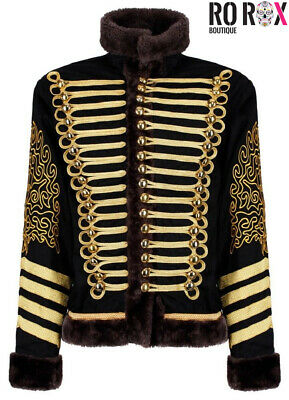 Hussar Jimi Hendrix Inspired Parade Jacket Military Drummer Officer Faux Fur