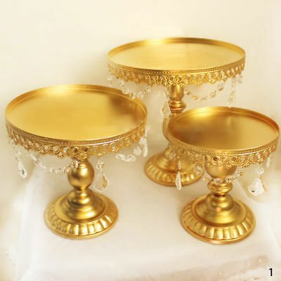 3pcs Crystal Metal Cake Holder Cupcake Stand Display Birthday Wedding Decor