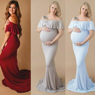 Pregnant Women Off-Shoulder Long Maxi Gown Photography Prop Wedding Party Dress