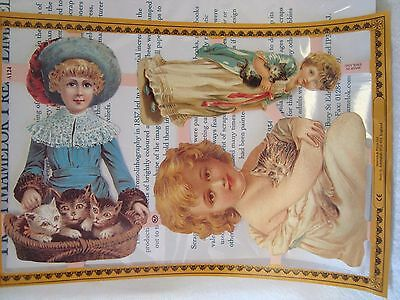 Sheet of Mamelok Scraps-  Girls with Cats Sheet A124