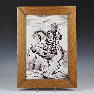 An 18th Century Delft Tile Mural Depicting Prince Friso On A Horse At War