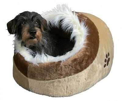 Igloo Bed - Cat Kitten Dog Plush Cushy Cave Bed Beige Medium