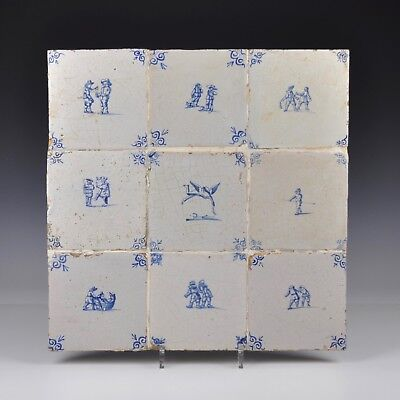 A Set Of Nine Delft Blue And White 17th Century Tiles With Figures