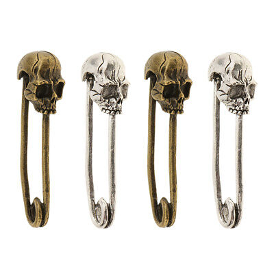 4Pieces Skull Head Skeleton Charms Ghost Pin Shaped DIY HandCrafting Jewelry
