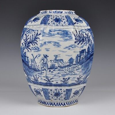 A Delft Blue And White 18th Century Baluster Vase With Hunting Scene
