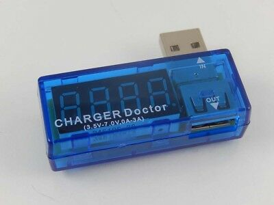 1x USB voltmeter blue angled with power indicator