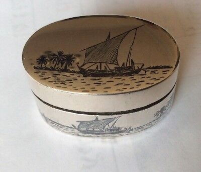 Antique Oval Silver Type Oriental Snuff Or Pill Box