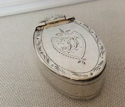 Fine Antique Solid Sterling Silver Oval Snuff/pill Box Case Birm. Turner 1803