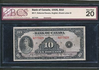 1935 $10 Bank of Canada VF20 BCS certified. BC-7. Book Value $475