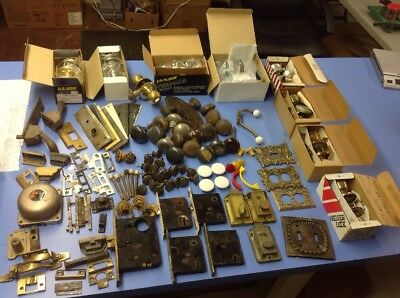 Lot Of Vintage Door Hardware Knob Plates Locks Handles Brass Porcelain Bell Door