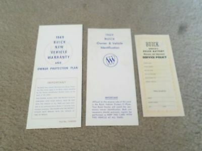 LOT 3- 1969 Buick Car/Battery Owner's Warranty/Protection Plan & Identification