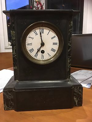 Vintage Antique Black Marble 19th 20th Century Mantle Clock Spares or Repair