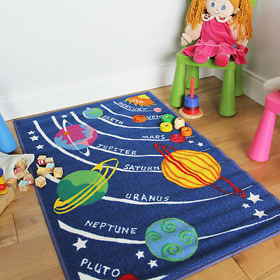 Small Large Blue Space Planet Child's Activity Mats Non-Slip Boy Girl Play Rugs