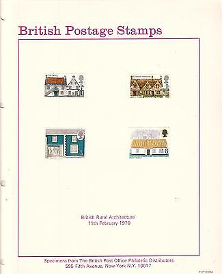British Postage Stamps Rural Architecture 1970 Specimens & post office photo