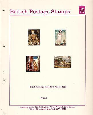 British Postage Stamps Paintings Issue 1968 Specimens & post office photo