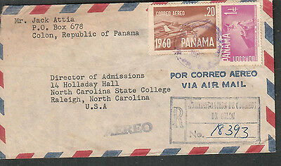 Republic Of Panama 1962 Registered air mail cover Colon to Raleigh NC