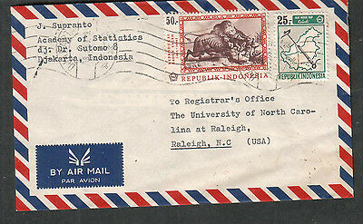 Indonesia 1969 air mail cover Academy Of Statistics Djakarta to Raleigh NC