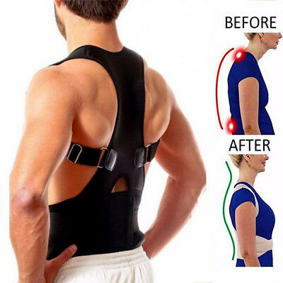 Neoprene Posture Corrector Bad Back Lumbar Shoulder Support Magnetic Belt Brace