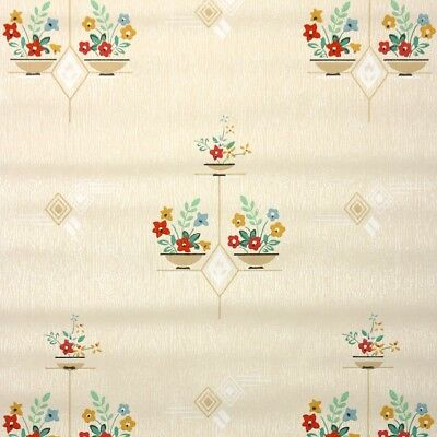 1930s Vintage Wallpaper Antique Kitchen Wallpaper with Red Flowers on Beige