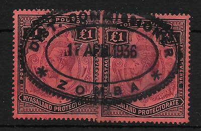 NYASALAND SG98 1913 £1 PURPLE & BLACK ON RED FISCALLY USED x2